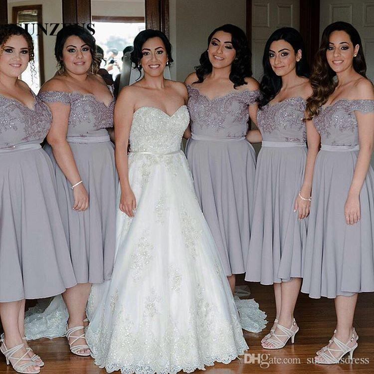 A Line Off Shoulder Tea Length Bridesmaid Dresses Grey Chiffon