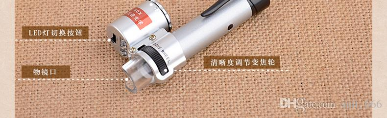 whiilesale di trasporto libero 100 volte all'ingrosso con le luci del LED può mettere a fuoco la penna mini microscopio multifunzionale del microscopio d'ingrandimento del microscopio
