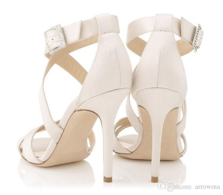 2016 Fashion Bridal Shoes White Wedding Shoes Buckle Strap Criss Cross High Thin Heels Plus Size US4-US15 Summer Evening Shoes Party