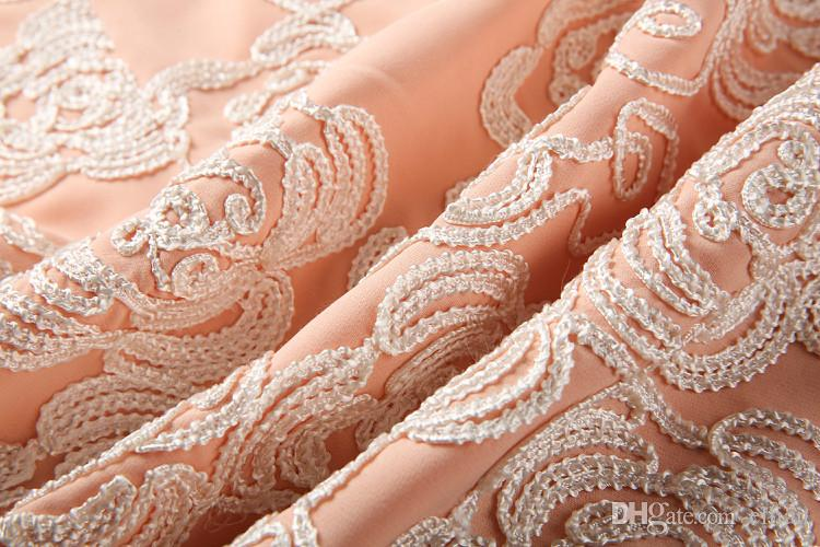 Broderie femmes robe fourreau manches courtes robes de soirée 0415340