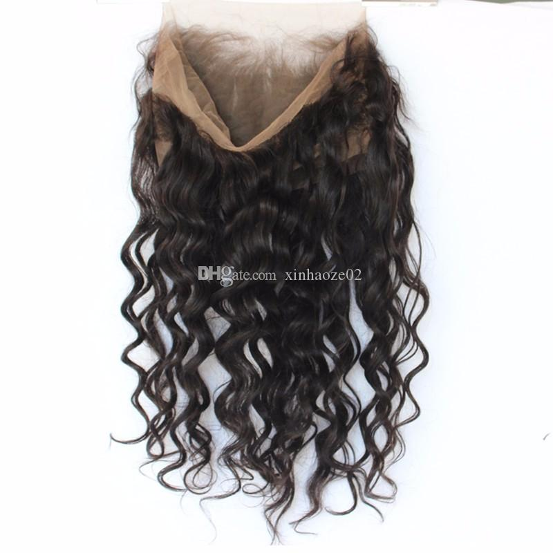 360 Lace Frontal Closure With Baby Hair Peruvian Loose Wave Frontal With Natural Hairline Bleached Knots Curly 360 Lace Frontal