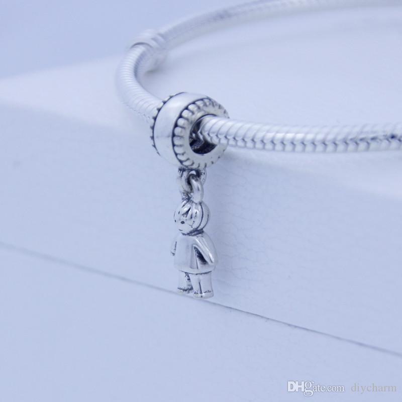 Loose beads 925 Sterling Silver Screw Core Dangle Spacer Charm Bead Jewelry with Boy Child Kids, Suitable for Pandora Bracelet