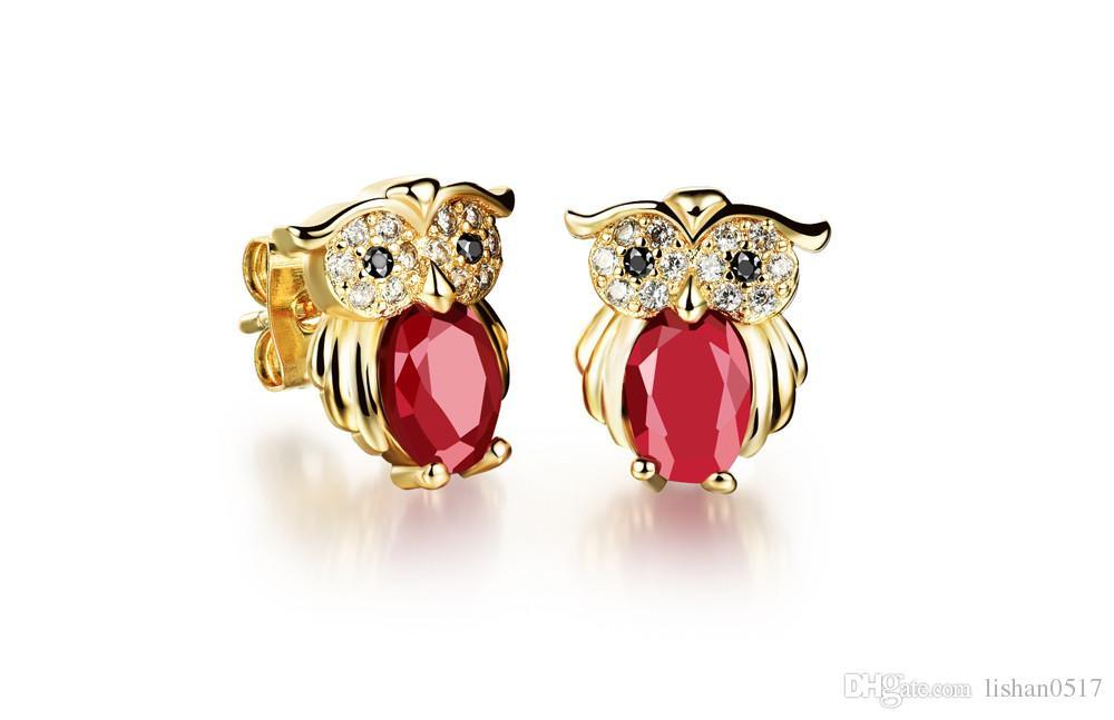 Owl Design Woman Stud Earrings Vintage 18K Gold Plated Red/Black/White Cubic Zirconia Women Jewelry Earring KE637