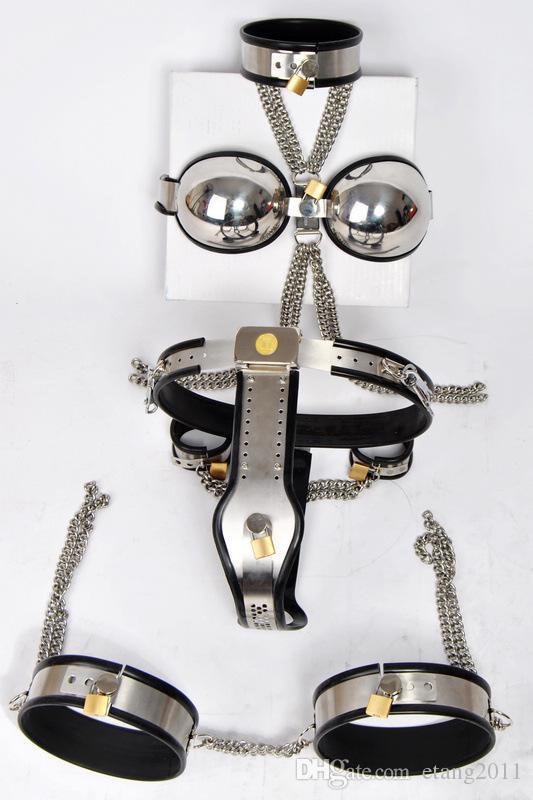 2016 nuovi giocattoli sessuali Bdsm Chastity Devices T-tipo cintura di castità + colletto + manette + coscia polsino + reggiseno gioco del sesso