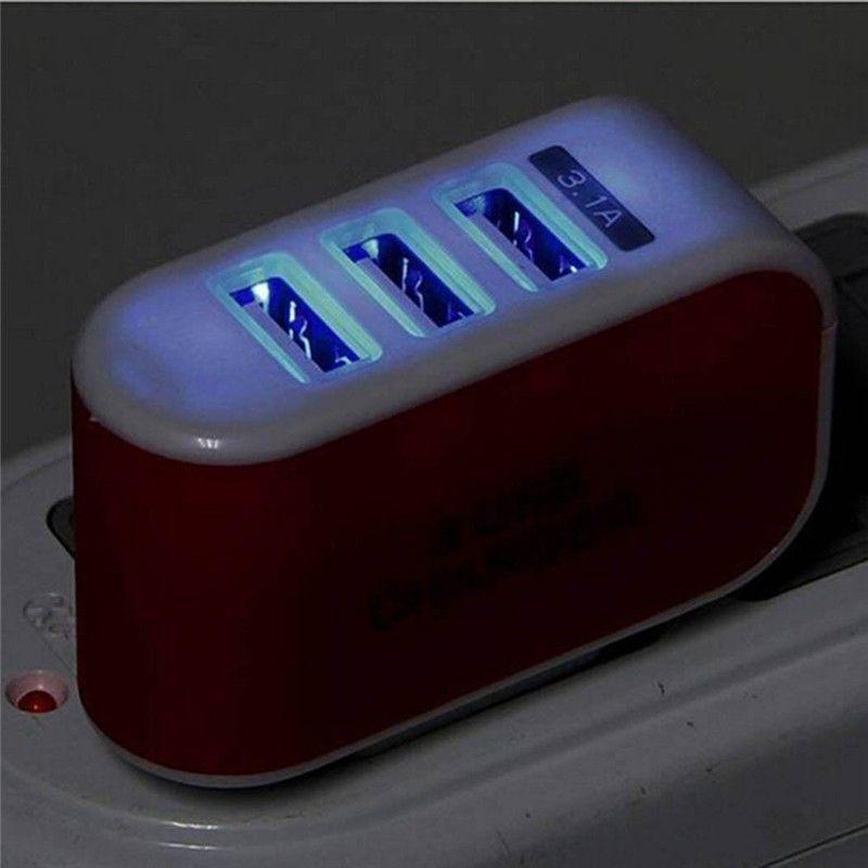 US Plug 3 USB-порты настенное зарядное устройство 5V 3.1a Светодиодный адаптер питания EU Зарядные устройства зарядки для мобильного телефона