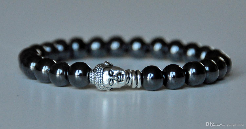 Bracelet en hématite mala à la terre, bracelet de Bouddha, bracelet de chakra racine, méditation poignet Mala Prière, bracelet de yoga, bracelet de guérison des pierres précieuses