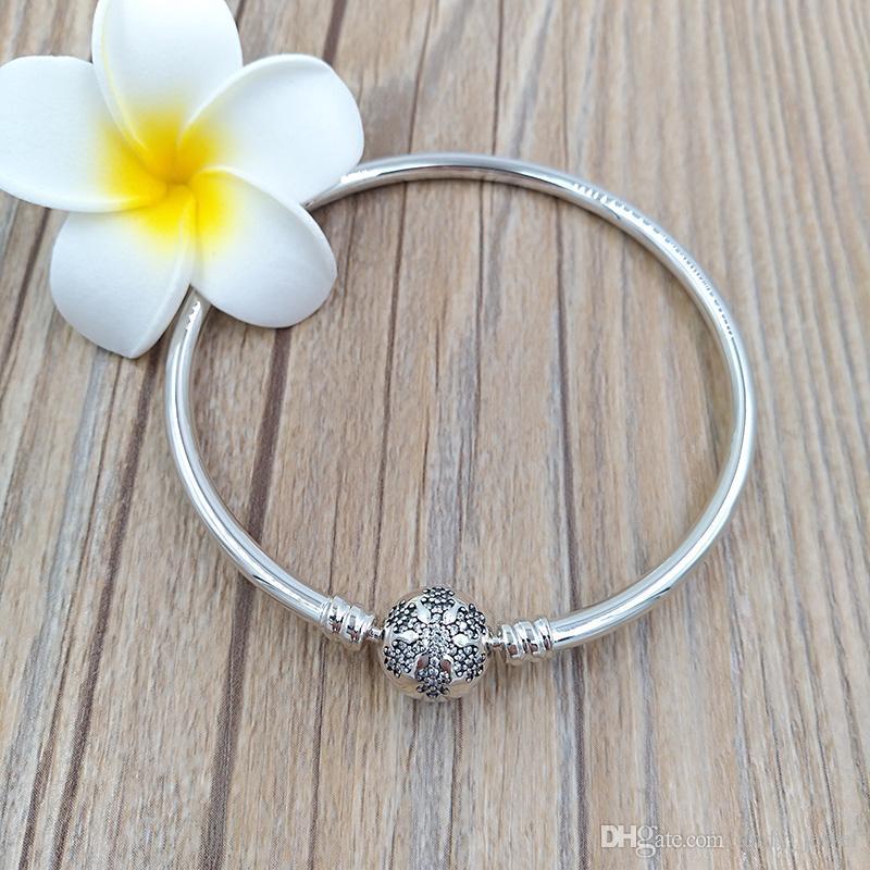 Autentico 925 sterling argento unico fiocco di neve momenti d'argento braccialetto in argento adatti gioielli in stile Pandora europeo perline charms 590740cz
