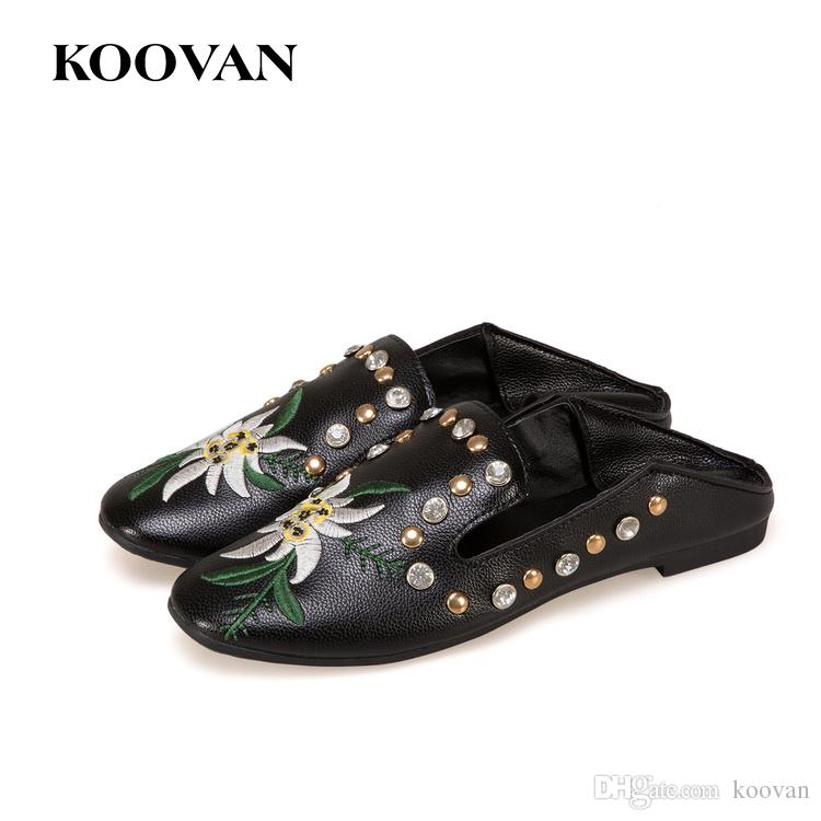 f9cb5c1c995 Fashion Women Summer Lazy Shoe Flats Ladies Square Toe Loafer Embroidery  Flower Ins Hot Sale Koovan 2017 New Show Shoes Shallow Mouth W443 Brown  Shoes ...
