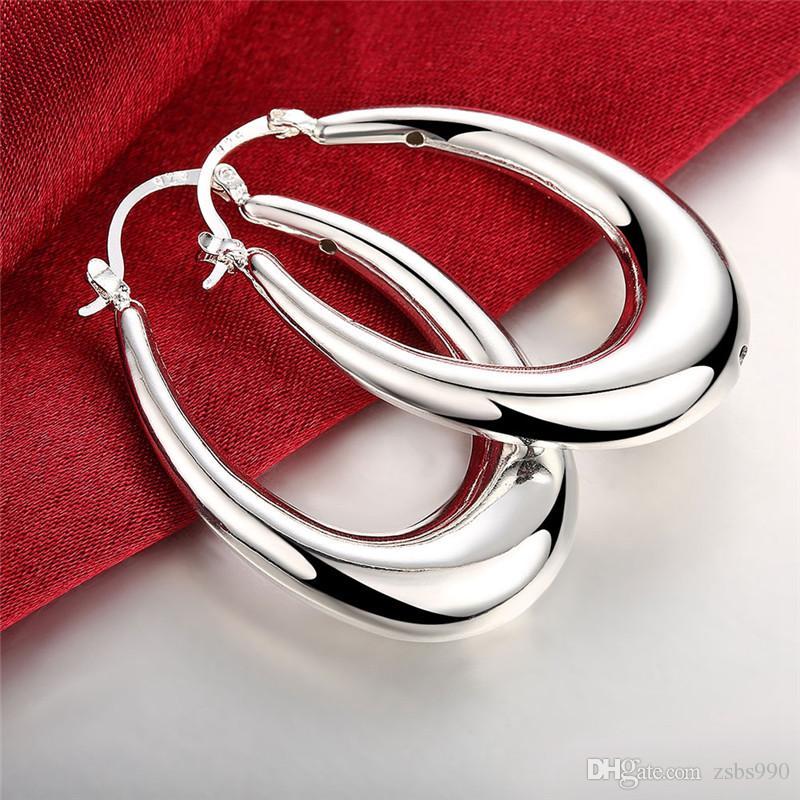 Moda Jóias 925 brincos de argola de prata esterlina para as mulheres Belo partido presente de Alta qualidade Frete grátis
