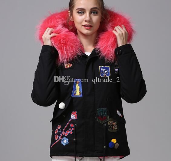 2018 2016 New Rose Red Fur Black Parka Mr Mrs Furs Rabbit Fur ...