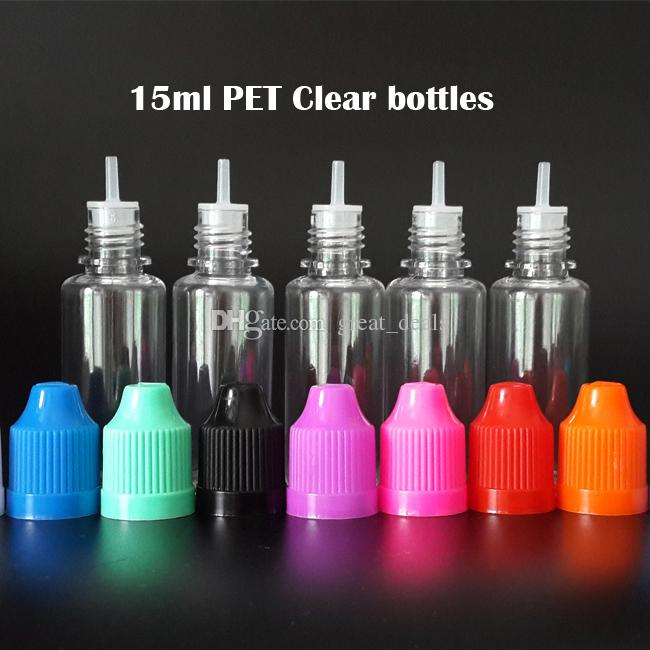 La botella de líquido E más barata 5 ml 10 ml 15 ml 20 ml 30 ml 50 ml Botella de plástico vacía con gotero PET con tapas coloridas a prueba de niños Puntas de gotero largo y delgado