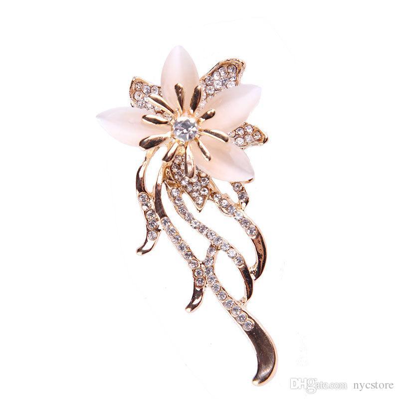 Fashion Bauhinia Flower Rhinestone Crystal Brooch Cat Eye Stone Brooches Pins Wedding Bridal Broach