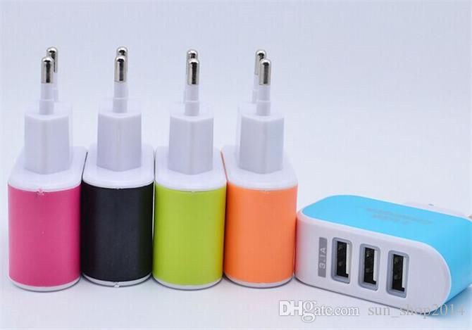 3 usb plug ue / eua plug 3.1a adaptador de energia usb colorido parede home carregador de viagem de energia para samsung iphone htc
