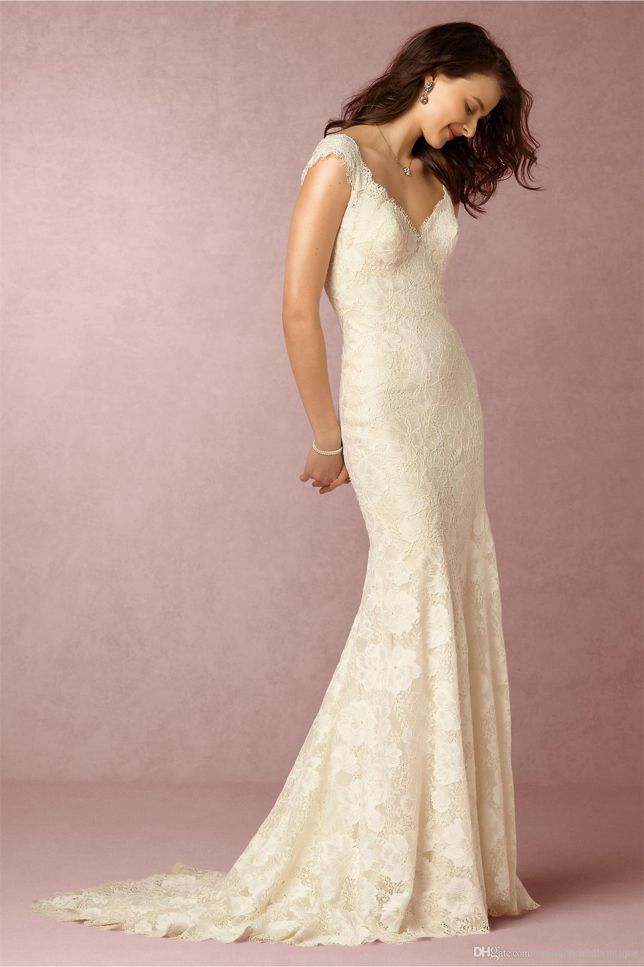 Bhldn 2016 Cap Sleeves Wedding Dresses With V Neck And Sweep Train ...