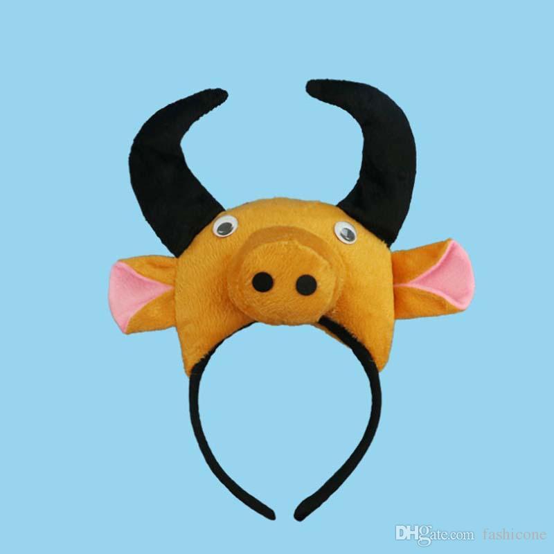 Cartoon Cow Bull Baby Children Animal Headbands Ears Elastic Headband Hair Accessories Kids Cute Hairbands for Girls Bow Headwear Headdres