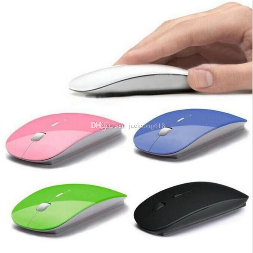 2020Cheapest meilleure souris sans fil avec Ultra mince optique 2.4G Récepteur Super Slim souris pour ordinateur PC portable Souris de bureau avec 6 couleurs