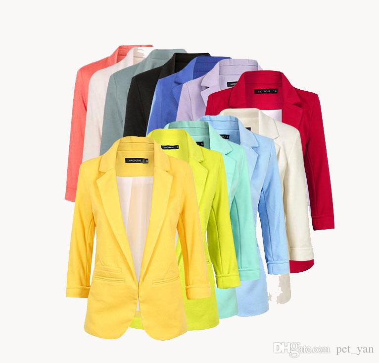New Winter Jackets and Coats Candy Color Solid Slim Suit Blazer Coat Jacket Long Sleeve Slim Jacket winter coat women