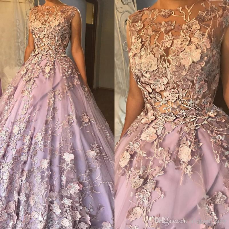 Cinderella Luxury 3d Floral Appliqued Prom Dresses Crystal Ball Gown