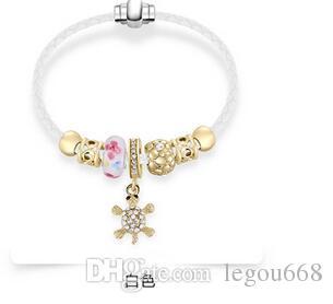 2017 nouvelle mode Europe et les États-Unis vent alliage bracelet en cristal avec coeur de pêche pendentif chaîne verre perles bijoux en diamant x10