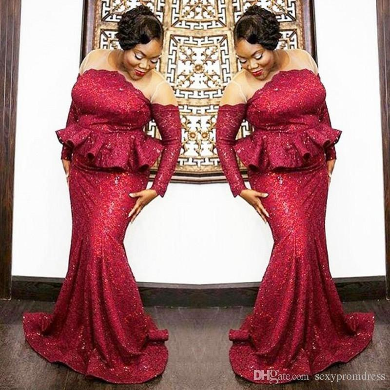 Plus Size South African Prom Dresses 2018 Dark Red Sequined Long