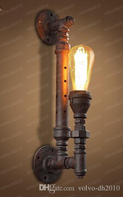Industrial Rustic Steampunk METAL PIPE Edison Bulb Vintage Wall Lamps Balcony Bar Light with E27 bulb Rust Pipe wall sconce LLFA11