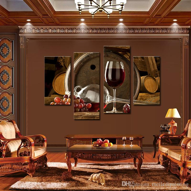 4 Panels Picture Wine And Fruit With Glass And Barrel Wall Art Painting Pictures Print On Canvas Food The Picture For Home Modern Decoration