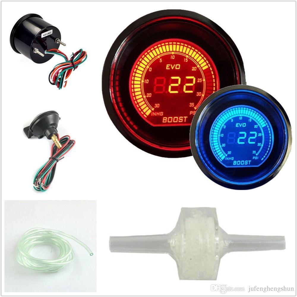 Sıcak 2 inç 52mm Turbo Boost Vakum Ölçer Psi 12 V Araba mavi Kırmızı LED Işık Tonu Lens LCD Ekran Oto Dijital Metre enstrüman Evrensel