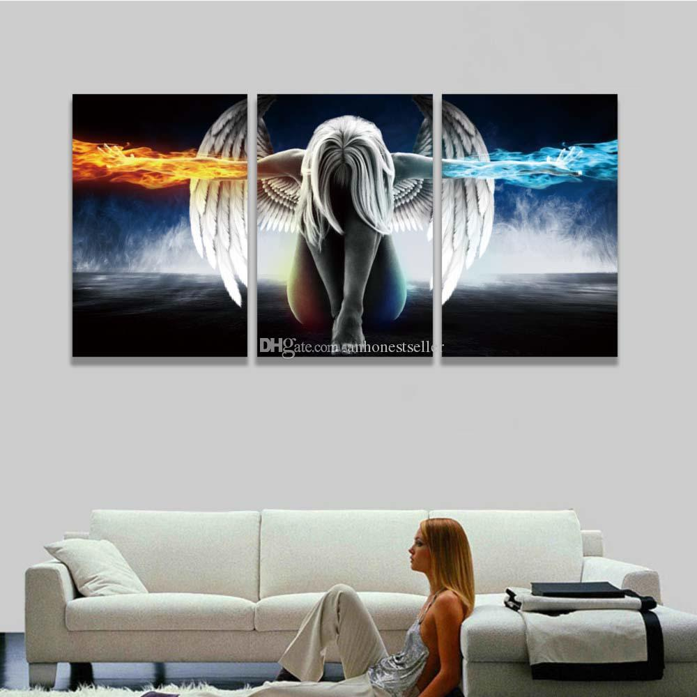 2018 Printed 3 Panel Canvas Wall Art Angel Wings Painting Beautiful Anime Picture For Home Decor