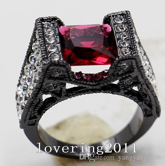 Commercio all'ingrosso - Size5 / 6/7/8/9/10 Vintage Lovers Crystal Jewelry 10KT Black Gold Filled donna lady039; s Wedding Engagement Ring regalo d'amore