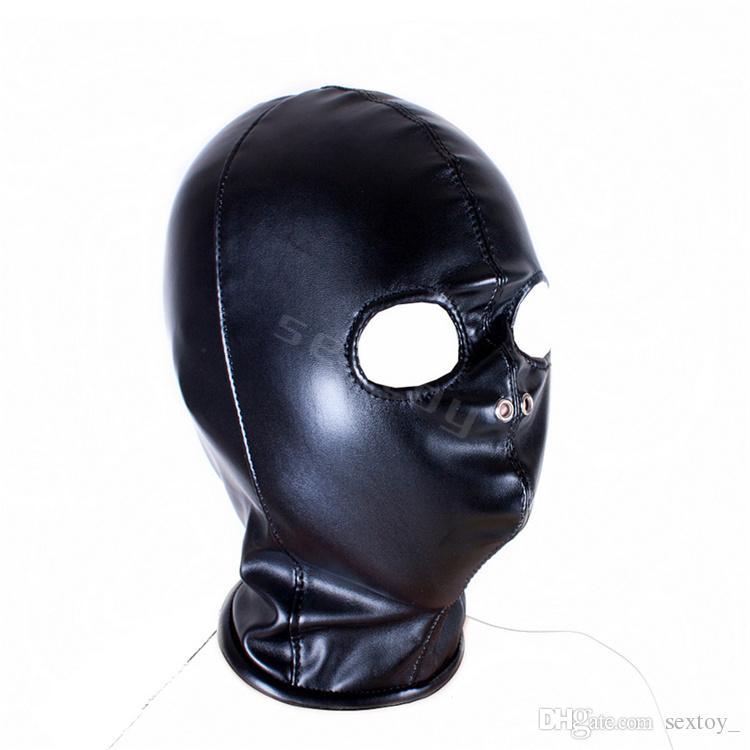 Фетиш Открытая маска для глаз с капюшоном из искусственной кожи.
