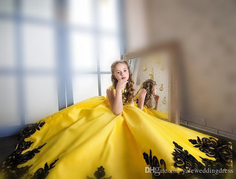 Yellow And Black Lace Applique Flower Girl Dress Square A-Line Girls Pageant Dresses With Bow Floor-Length Custom Made Cupcake Kid Dresses