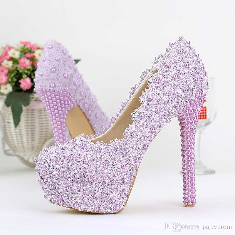 Purple Color Wedding Shoes Lady Beautiful Elegant Bridal Dress Shoes ...