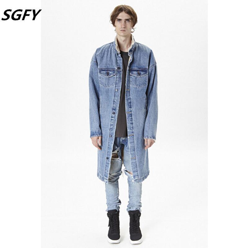 2016 Fashion Men Winter Denim Jacket Long Wool Fur Coat Brand ...