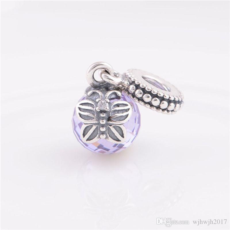 Аутентичная 925-серебро-ювелирных изделия лаванды Утренней подвеска бабочки Подвеска бусины для изготовления ювелирных изделий Fit Brand Diy браслетов аксессуаров