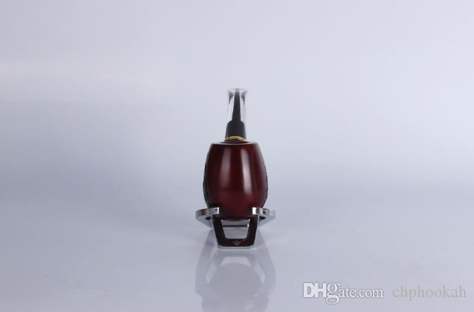 8014 Red Sandalwood Wood Carved with High-grade Metal Ring Cigarette Filter Pipe Fittings Wood Old Pipe