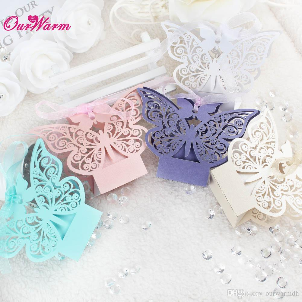 Butterfly Hollow Wedding Favor Bags Wedding Candy Box With Ribbon ...