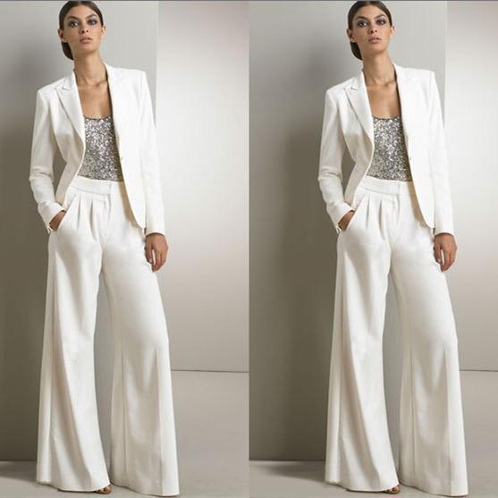 Plus Größe Mutter der Braut Hose Anzüge Pailletten Langarm Mütter Bräutigam Hosen Anzug mit Jacke Hochzeit Gast Pantsuits