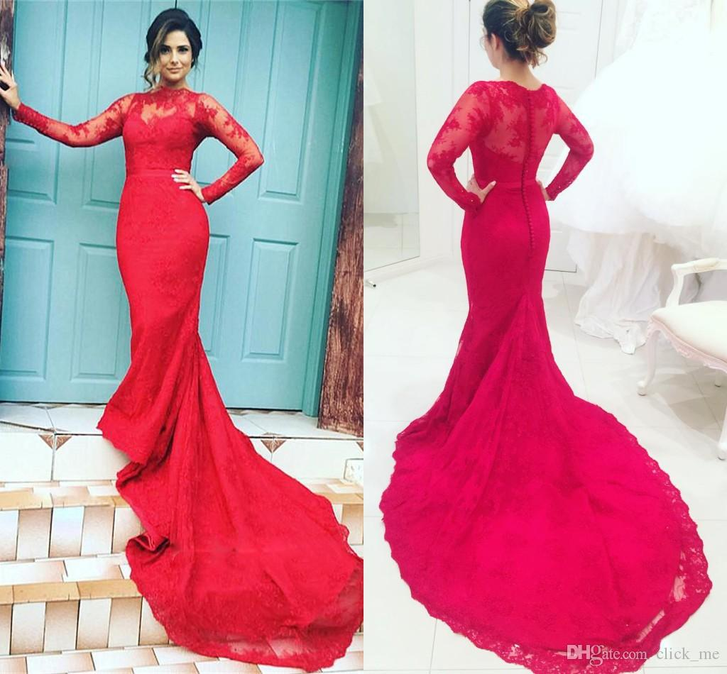Red Mermaid Evening Gowns With Sheer Neck Lace Long Sleeves Prom ...