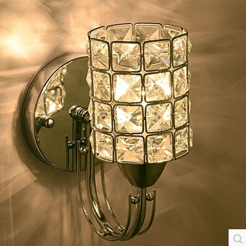 Bedroom Crystal Wall Light Modern Polished Chrome Base Living/Study ...