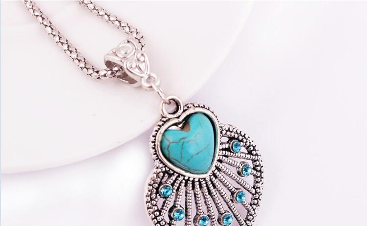 Retrò Bohemian Hollow Turquoise Necklace Earrings Set Set di gioielli ciondolo foglia carino le donne Accessori gioielli