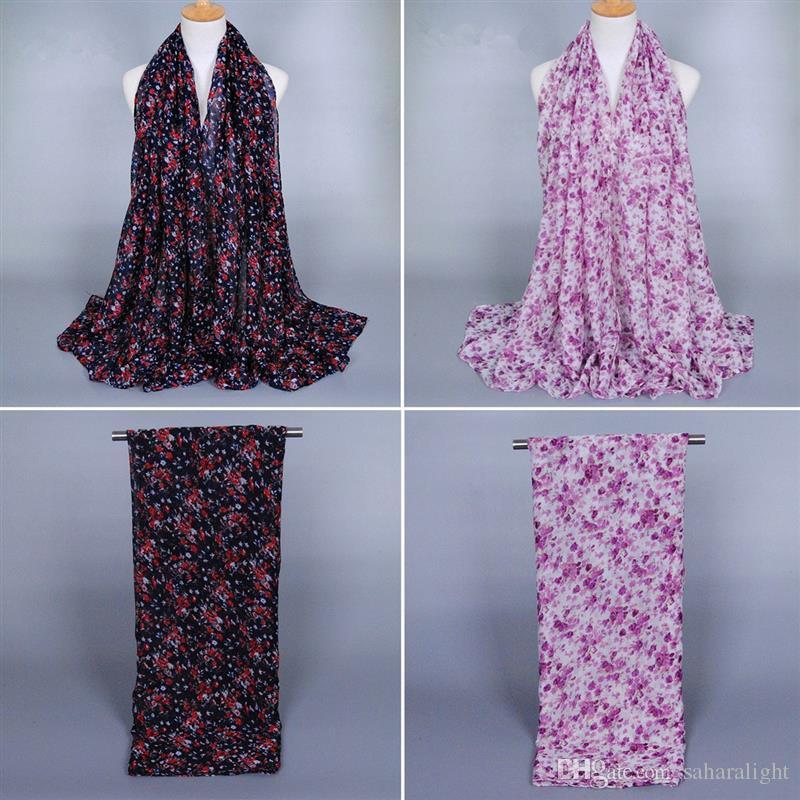 2016 weibliche kleine Blumendruck lange Schals über 180 cm Frauen Blume Loop Schal Herbst Winter warme Schal Damen Retro Voile