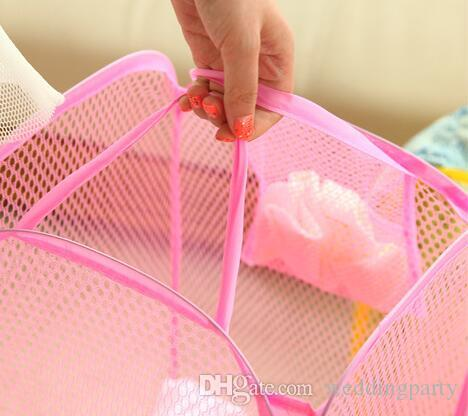 New Mesh Fabric Foldable Pop Up Dirty Clothes Washing Laundry Basket Bag Bin Hamper Storage for Home Housekeeping