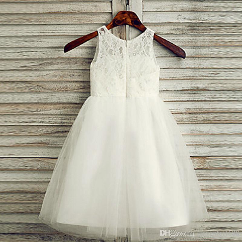 2020 Niza muchachas de flor vestidos de Scoop escote flores hechas a mano de los niños viste para la comunión largo vestido de novia niñas