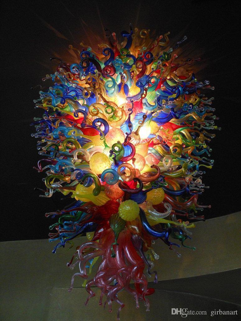 Лампы Tiffany Multicolor Стекло Большие люстры Света Художественные Украшения Высокая Подвесная Лампа Красочная Современная Светодиодная Люстра