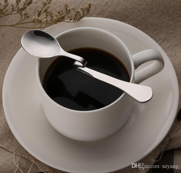 Nowy Styl Bent Łyżka Kreatywny Prosta Wisząca Łyżka Ze Stali Nierdzewnej Desery Kawowe Mieszanie łyżki Narzędzia do kawy