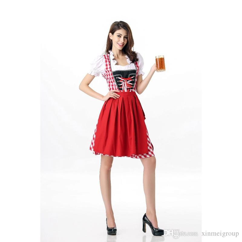 New Design Sexy Beer Girl Dress 2 Pieces Germany Oktoberfest Outfits Women Fashion Halloween Beer Apron Maid Uniform Fancy Dress A417039