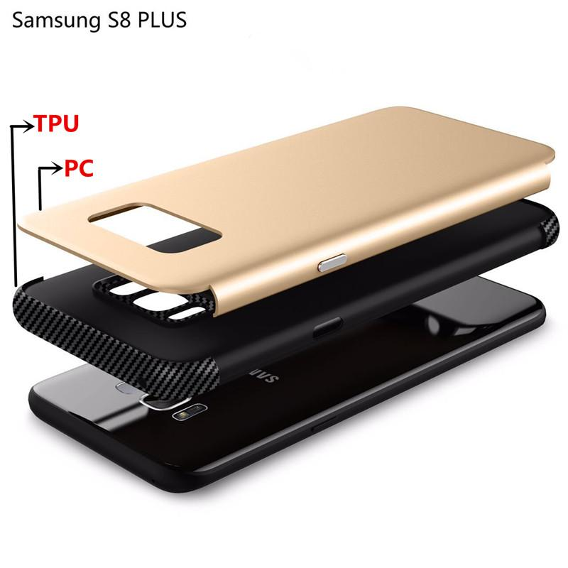 For iPhone X Shield Hybrid Case Carbon Fiber 2 in 1 Protector for iPhone 8 Plus Samsung S8 S7 edge J3 prime J7 2017 with Retail Box