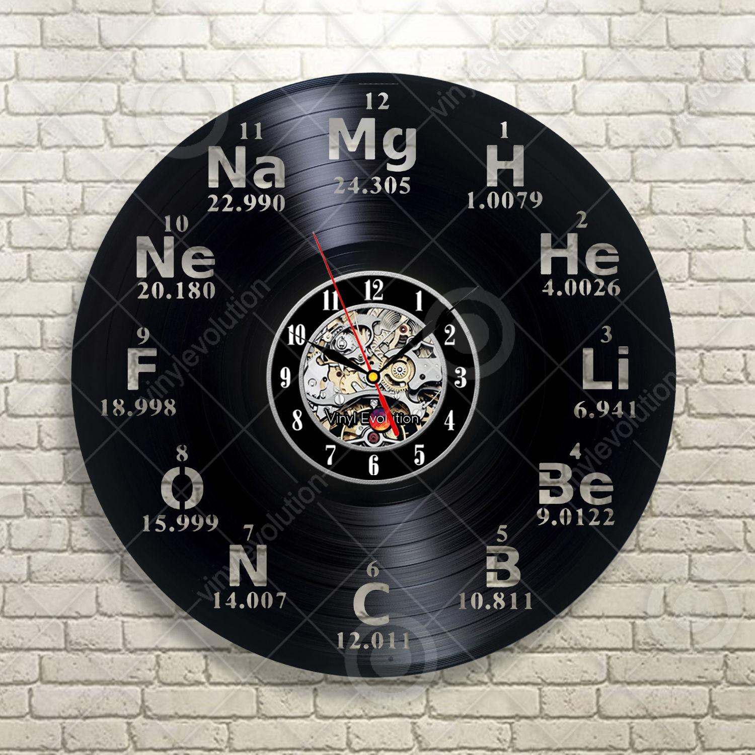 Chemical element periodic table vinyl wall clock study chemistry chemical element periodic table vinyl wall clock study chemistry school collehevinyl wall clock christmas gift silent wall clock silver clock from urtaz Images