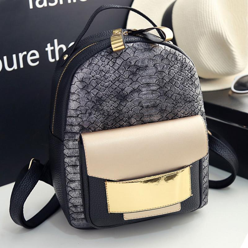 12ac85ebd0a 2017 New Snake PU Leather Women Backpack Female Fashion Rucksack Brand  Designer Ladies Back Bag High Quality School Bag Mens Backpacks Swiss Army  Backpack ...
