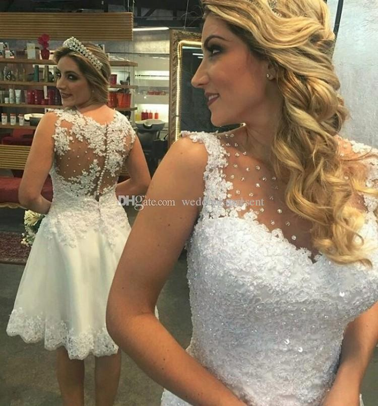 Knee Length A-Line Wedding Dresses with Crystal Beads Lace Appliqued Short Wedding Bridal Gowns Covered Button Back 2017